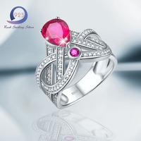 Merthus 925 Sterling Silver Crown Design 1 27ct Teardrop Created Ruby Engagement Ring For Women