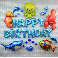 Sea Word Theme Letter Happy Birthday Foil Balloons Birthday Party Decorations Kids Sea Fish Ball Birthday