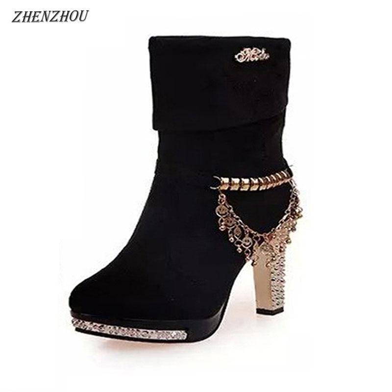 Brezplačna dostava Ženski čevlji 2018 jesenski ženski škornji Ženske čvrste kovinske rese in visoke pete z velikimi čevlji Fashion Martin škornji