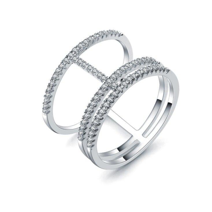 e1f6b021e8fe 2017 nueva llegada limitada planta moda unisex venta auténtica Plata de Ley  925 cristales de Swarovski Joyería fina anillo