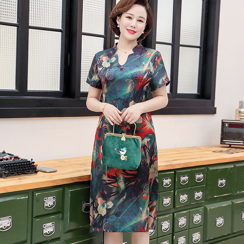 Summer Dress Women 2019 Plus Size 5XL Short Sleeve A Line Casual Elegant Floral Print Party Dresses Vestidos in Dresses from Women 39 s Clothing