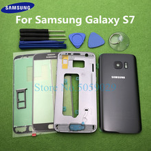 For Samsung Galaxy S7 G930 G930F SM G930F Full Housing Case Bezel Middle Frame Back Cover + Front Glass Lens Tools Sticker