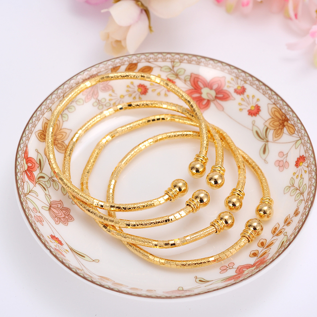2pcs 24k Gold Africa Jewelry Ethiopian Bling Bangle Bracelet Dubai India For Women Gifts Men Kids Birthday