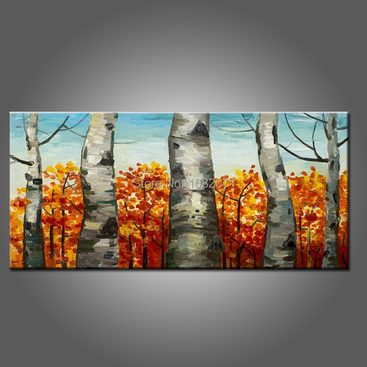 Hand Painted High Quality Autumn Trees Oil Painting On Canvas Handmade Fall Orange Tree On Canvas For Drawing Room Oil Painting