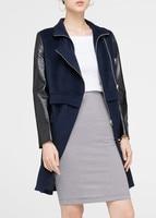2016Autumn Genuine Leather Spliced Long Jacket Women Sheepskin Zipper Jaqueta De Couro Womens Coats And Jackets Winter Plus Size