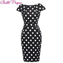 Belle Poque, женское летнее платье-карандаш в горошек, для работы,, винтажное, цветочное, деловое, офисное, облегающее, сексуальное, облегающее, рокабилли платье