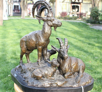xd 002284 Art Decoration Sculpture Chinese Bronze Copper Marble Zodiac 3 Sheep Goat Statue