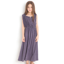 2018 Girl Floral Dress New Vest Dresses Large Children 14 16 Year Summer Long Style Sleeveless Chiffon Sundress for Teen Girls girls dress cute sleeveless long sundress new style chiffon holiday dresses high quality kids clothes for girl children clothing