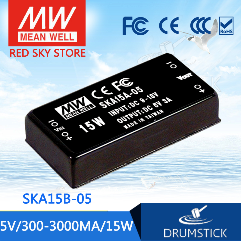 Hot sale MEAN WELL SKA15B-05 5V 3000mA meanwell SKA15 5V 15W DC-DC Regulated Single Output Converter selling hot mean well dka30b 05 5v 2500ma meanwell dka30 5v 25w dc dc regulated dual output converter