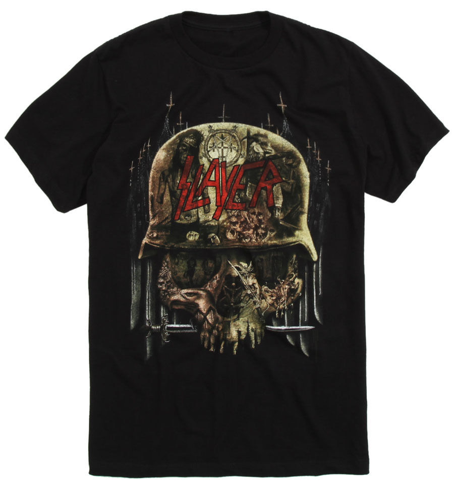 Cotton Shirts New Authentic Slayer Band Skull Album Collage Shirt (SML-2XL) Heavy Metal High Quality Casual Clothing image