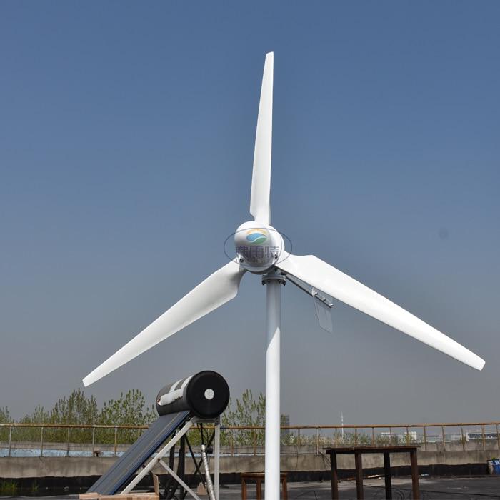 sustainable energy 2kw Horizontal Wind Turbine Generator 48v 96v 120v 230v With 2000w Grid Tie MPPT Inverter