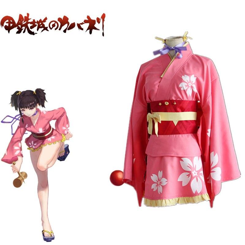Mumei Kimono Cosplay Kabaneri Of Iron Fortress Kotetsujo No Kabaneri Cosplay Japanese Outfit Set Fancy Pink Costume
