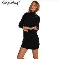 Singwing осень-зима Для женщин Платья для женщин модные длинные рукава Однотонная одежда Вязание платье водолазка Модные женские платье