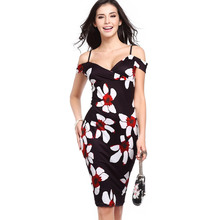 Лучший!  2019 Модные женские платья Лето с принтом без рукавов повседневные платья V-образным вырезом Элегант Л�