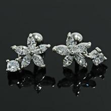 0b532959b 2pcs/lot AAA Cubic Zircon Paved Dangle Ear Piercing Earrings for Women  Fashion Earings Titanium