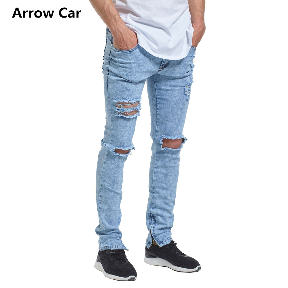 European Style Fashion Ripped Jeans Men High Street Trend Zipper Decorative Mens Jeans Skinny Solid Hole Pants M