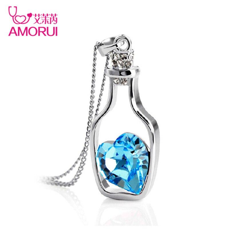 AMORUI Color azul corazón cristal colgante collar creativo mujeres collares señoras estilo Popular amor deriva botellas collar regalo
