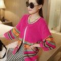 Nuevo resorte de la manera de las mujeres suéter femenino cardigan tejido de punto linterna de Tres del cuarto de la raya fina Puntada Abierta prendas de vestir exteriores