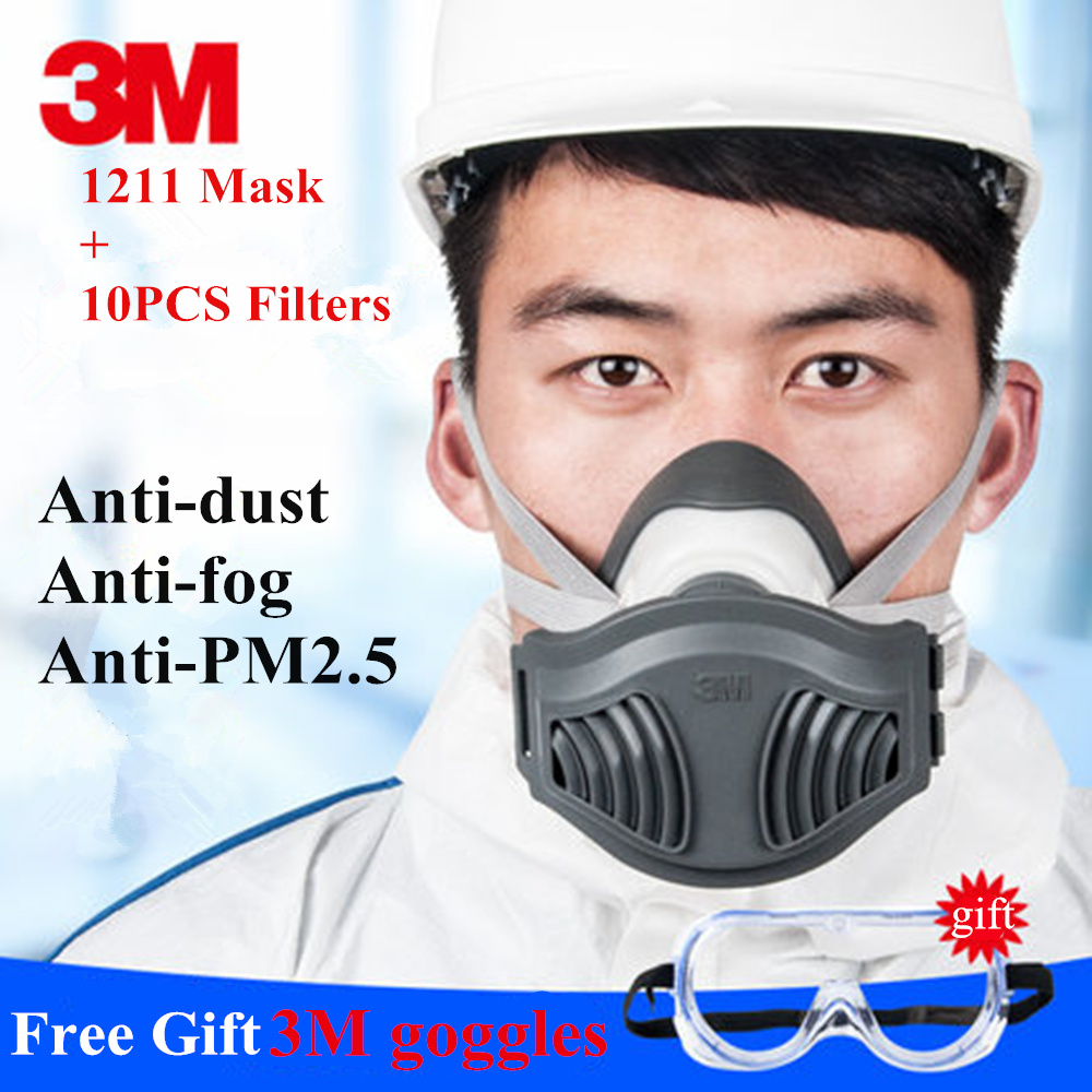 3M 1211+1621AF Dust Mask Respirator Set KN90 Mask with Goggles Anti-dust gas Anti-fog And Haze PM2.5 Protective Mask Suit leopard printed gas pollution anti dust and haze mouth mask