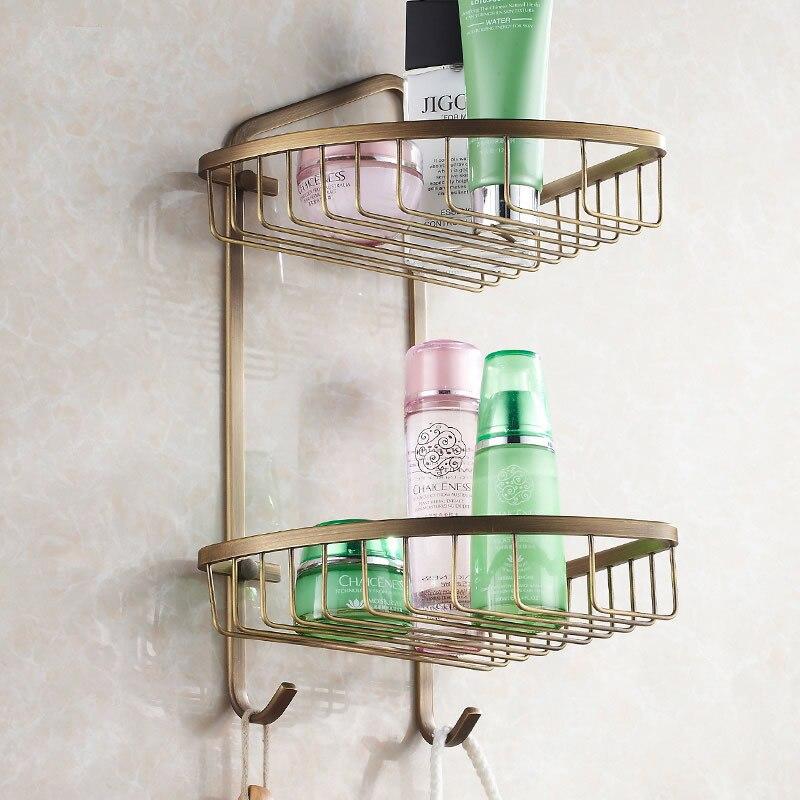 Bathroom Shelves 2 Tier Gold Brass Wall Shower Corner Shelf Bathroom ...