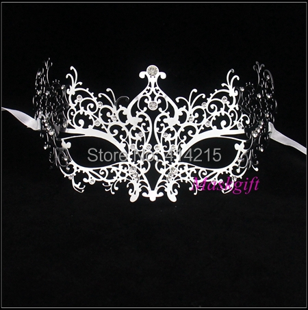 Silver Venetian Masquerade Metal Mask with Clear Rhinestones