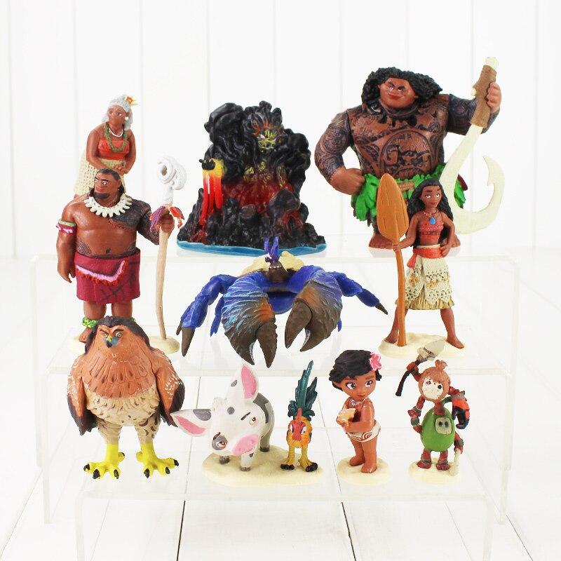 Moana Princess Maui Waialik Heihei PVC Action Figures font b Toy b font Decoration Chief Tui