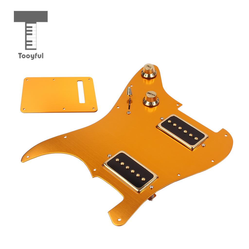 Tooyful Aluminium Alloy Guitar Pickguard HH08 Scratch Plate with Pickup Back Plate Set for ST Electric Guitar Parts Gold musiclily 3 single coil pickup loaded pre wired sss pickguard set for fenderstrat st guitar parts