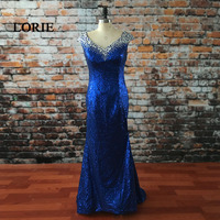 LORIE Royal Blue Evening Dress V Neck Beaded With Rhinestones Sequined Mermaid Prom Dress Crystals Party