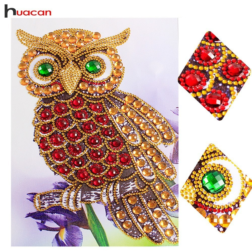 HUACAN Spezielle Form Diamant Malerei Eule Diamant Stickerei Tier Farbe Mit Diamant Vogel Bild Von Strass 20x30 cm
