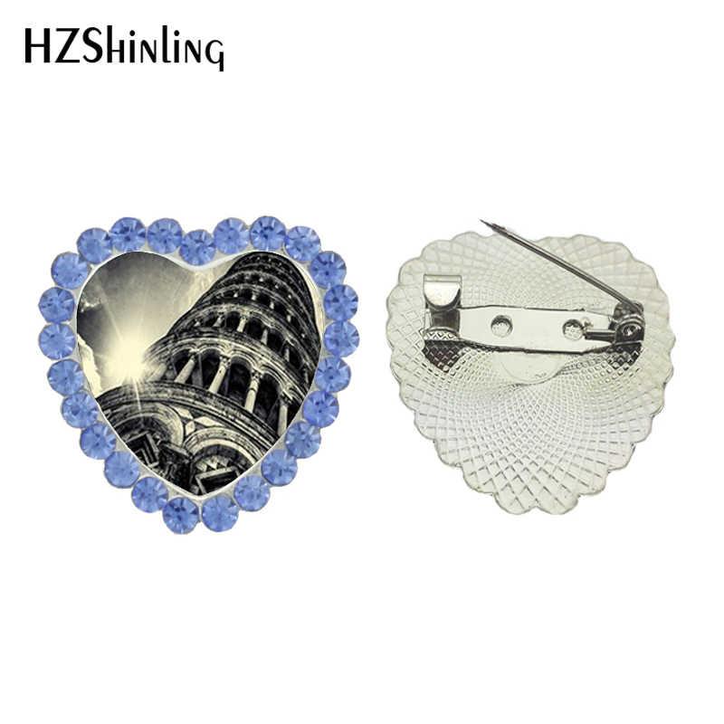 2017 Baru Vintage Eiffel Tower Prancis Bros Peniti Kristal Hujan Di Paris Jantung Breastpin Kaca Foto Pin Bros Pernikahan Hadiah