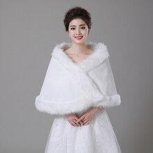 Free Shipping Women's Ivory Faux Fur Large Wedding Bridal Shawl/Wrap Stole Shrug Cape Bolero