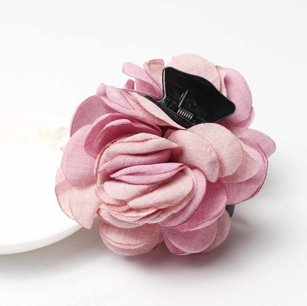 Yeni moda iki ton ince bez çiçek saç pençeleri kadınlar kızlar için saç tokası şapkalar bahar yaz tokalar saç aksesuarları