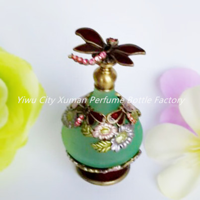 Vintage Retro Perfume Bottle Dragonfly Empty Refillable Metal Glass 23ml Stopper Gift