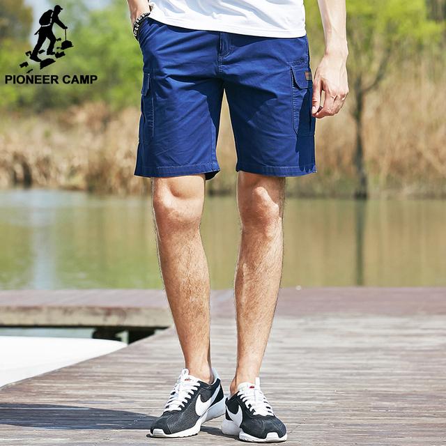 Pioneer acampamento moda homens carga Shorts 100% algodão Shorts muitos bolso solto calções masculinos sólidos Shorts Homme 655119