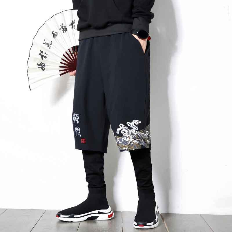 MRDONOO Autumn Chinese Style Men's Large Size Linen Pants Sports Hip Hop Casual Pants Loose Printed Harem Pants Tide K806