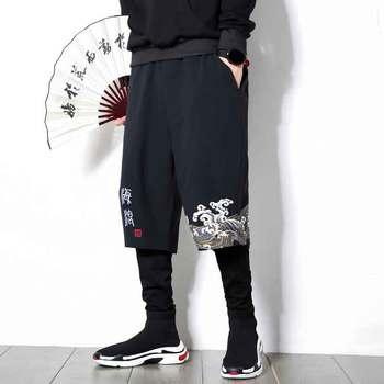 Pantalones de lino de talla grande para hombre de estilo chino de otoño MRDONOO, pantalones deportivos casuales de hip hop, pantalones sueltos, pantalones de harem estampados tide K806