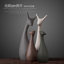 Minimalist ceramic deer home decor crafts room decoration handicraft ornament porcelain animal cat figurines wedding decorations