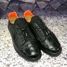 2018 новые оригинальные натуральная crocodil кожи живота для мужчин в деловом стиле, крокодиловой кожи мужская обувь черная кожа коровы подкладка