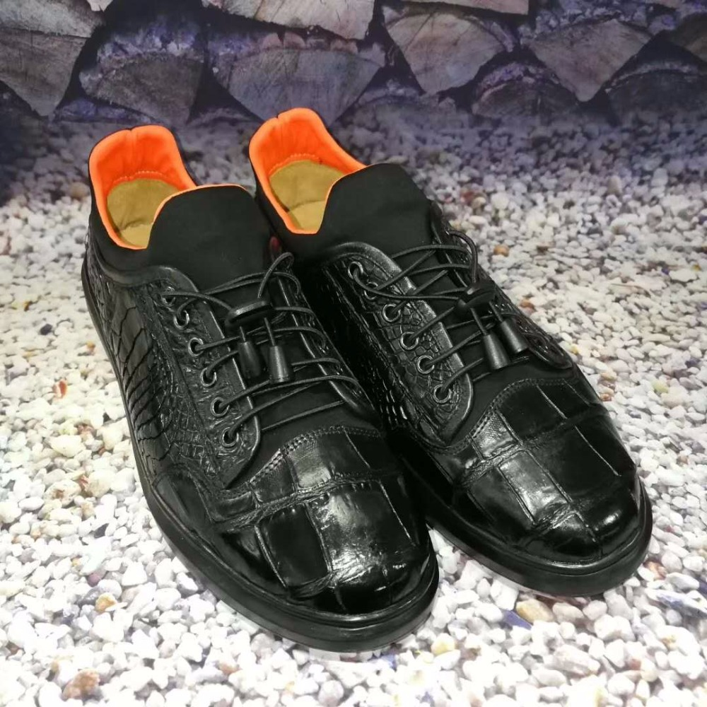 100% Genuine Real Crocodile Belly Skin Shinny Black Color Leather Men Shoe Durable Solid Crocodile Skin Men Dress Shoe Official Street Price Formal Shoes Men's Shoes