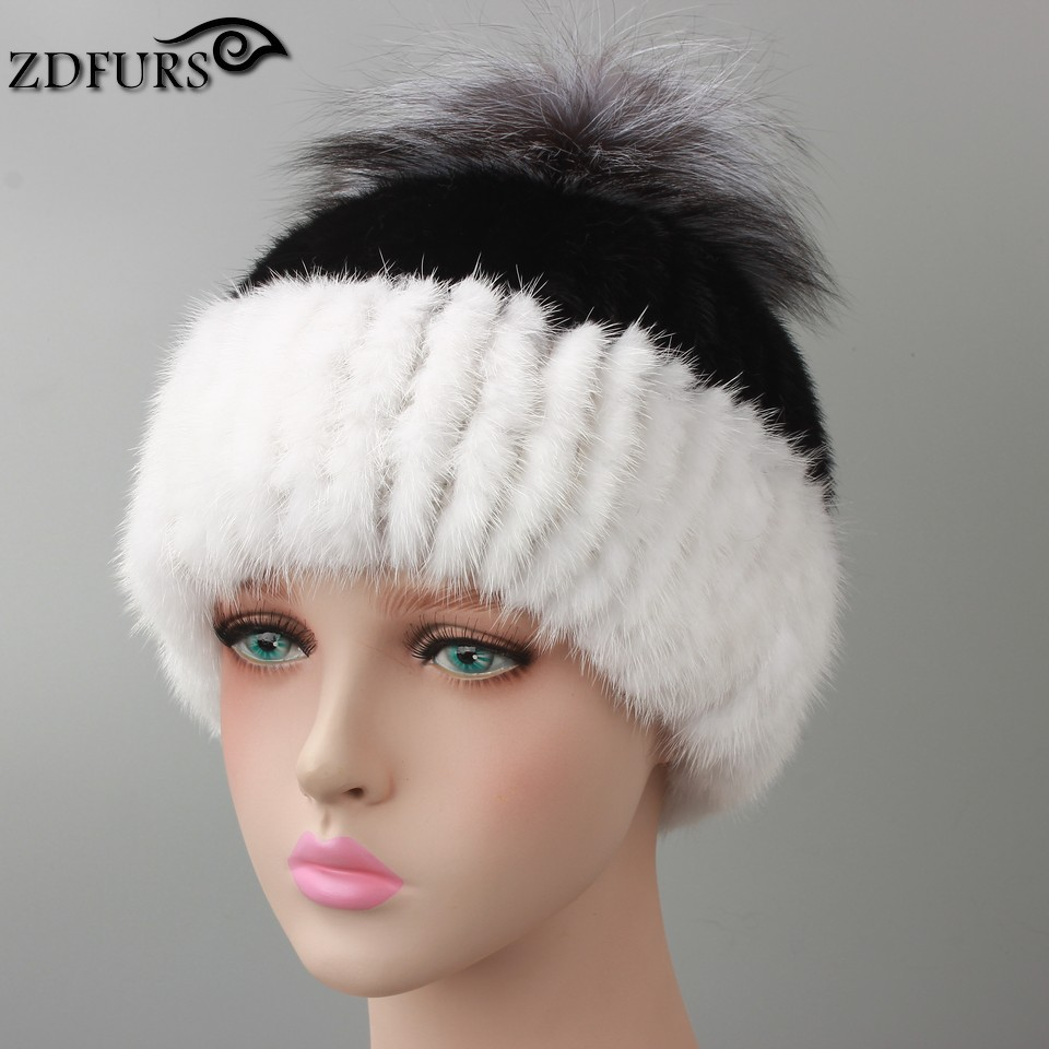 2016 New Style Russian Real Mink Fur Hat for Women Winter Knitted Mink Fur Beanie Cap with Silver Fox Fur Pom Pom Mixed Color цены онлайн