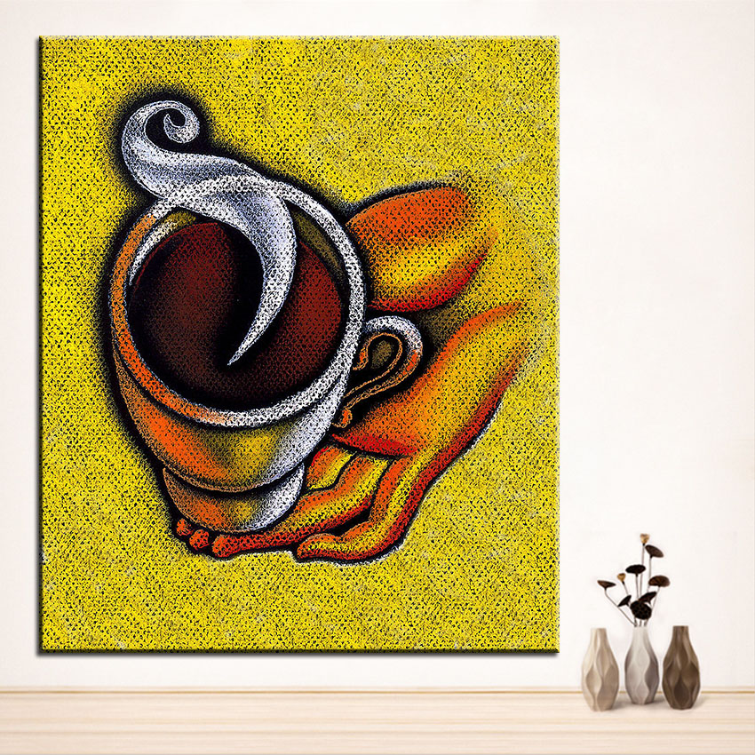 ᐂLarge size Printing Oil Painting coffee cup Wall painting Home ...