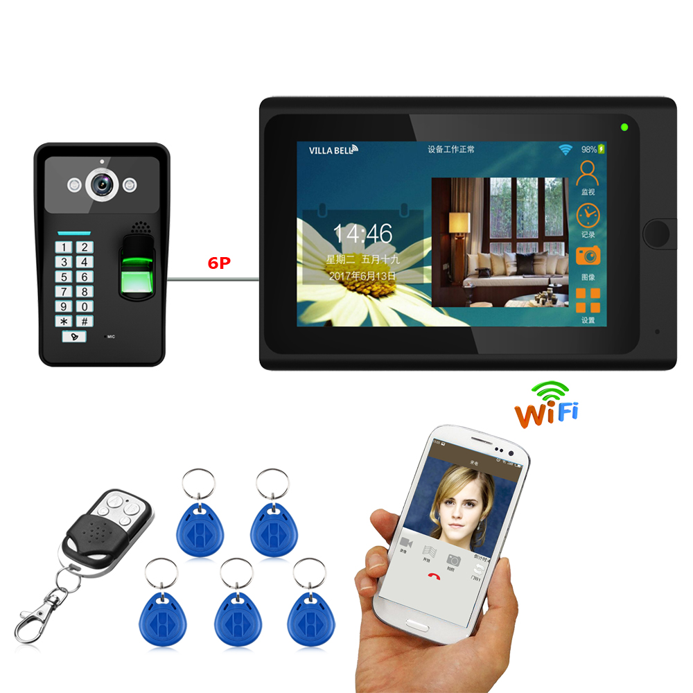 7'' Wired Wifi Fingerprint RFID Password Video Door Phone Doorbell Intercom Entry System with 1000TVL Outdoor Camera+ Remote