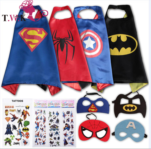 Satin superhero cape and mask costumes for kids set 4pcs cape masks stickers and