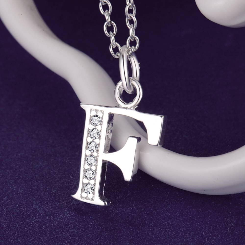 Letter F Bling Zircon Silver Plated Necklace New Sale Silver Necklaces U0026  Pendants /SVNZZFLK GCMHIMMQ