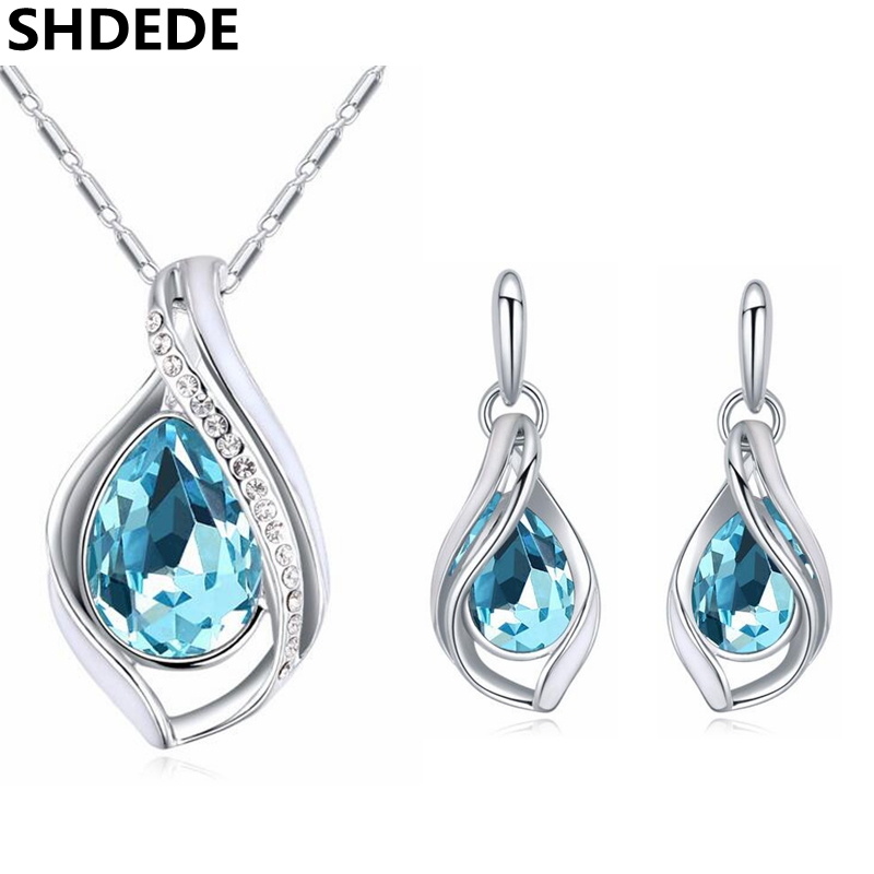 Fashion Jewelry Set Crystal from Swarovski Water Drop Necklace Earring Jewellery For Women Accessories Birthday Gift цена 2017
