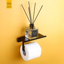 Toilet Paper holder Black with shelf roll creative paper Dispenser Tissue Boxes Bathroom Mobile Phones