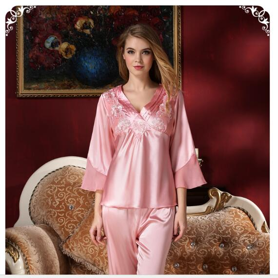 Top Grade Womens Sleepwear Silk Pajamas Satin Pajamas Silk Sling Nightdress Nightgown Two-piece Pajamas Sexy Lace Tracksuit