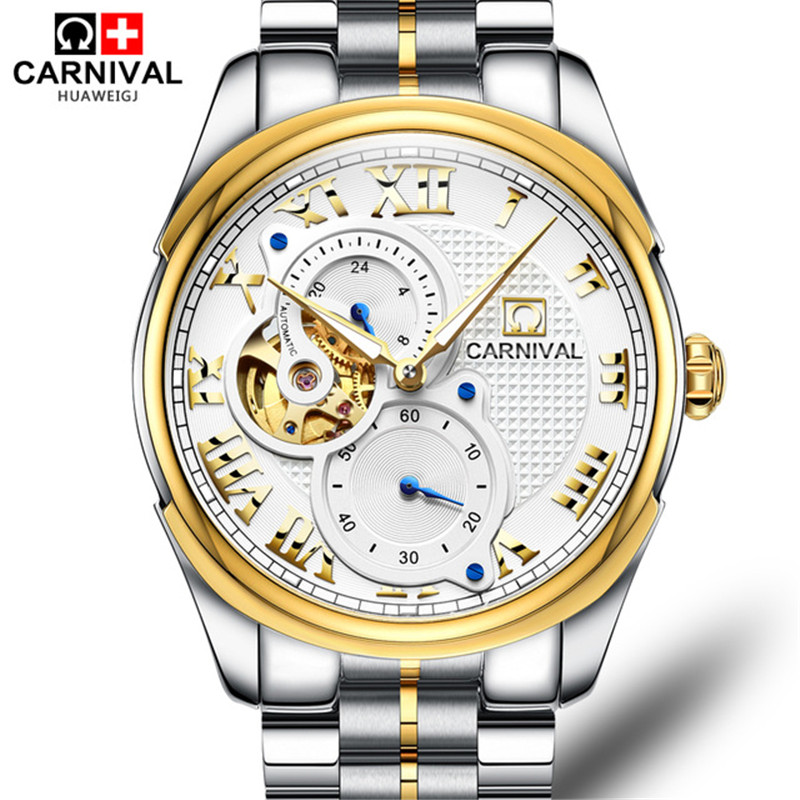 Carnival Fashion Business Automatic Mechanical Watch New Men Watches Full Steel Waterproof Hollow Wristwatches relogio masculino carnival classic dress men automatic mechanical watches full steel waterproof gold watch calendar fashion men clock montre homme