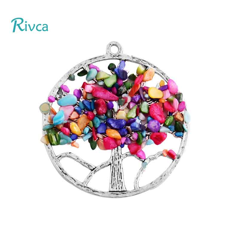 Bulk Snap Jewelry Rivca Natural Crystal 7 Chakra Stone Necklace For Women