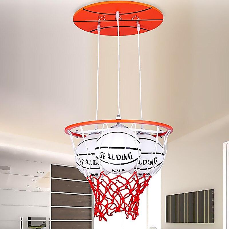 Enfants jouet moderne personnalité garçons basket-ball pendentif lumière chaude romantique chambre créative économie d'énergie lampes LED ZH ET12
